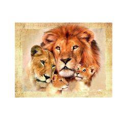DIY obraz z kamieni - rodzina lwów