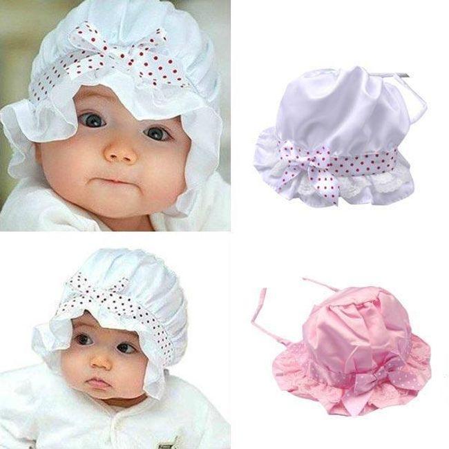 Dziecięca satynowa czapeczka - biała i różowa 1