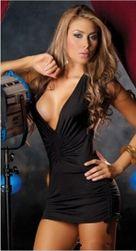 Dámské mini šaty DS256 Černá Černá