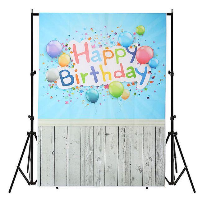 Ateliérové fotopozadí 3 x 5 m - Modrá zeď s nápisem HAPPY BIRTHDAY 1