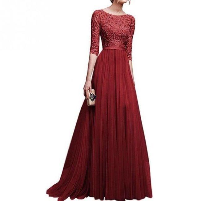 Společenské šaty s tříčtvrtečním rukávem - Červená-velikost č. 5 1