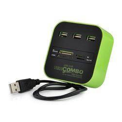 Hi-Speed USB hub és memóriakártya-olvasó - 4 szín