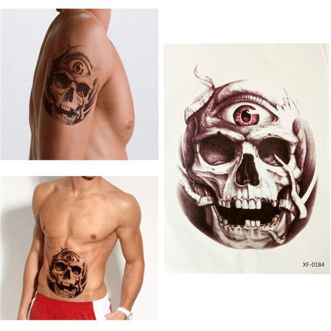 Переводная 3D татуировка- Череп с глазом  1