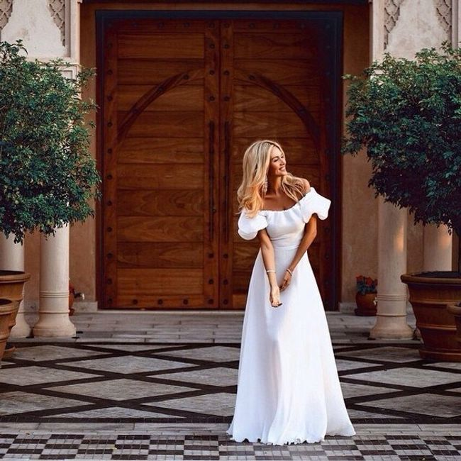 Hosszú fehér ruha -4 méretben