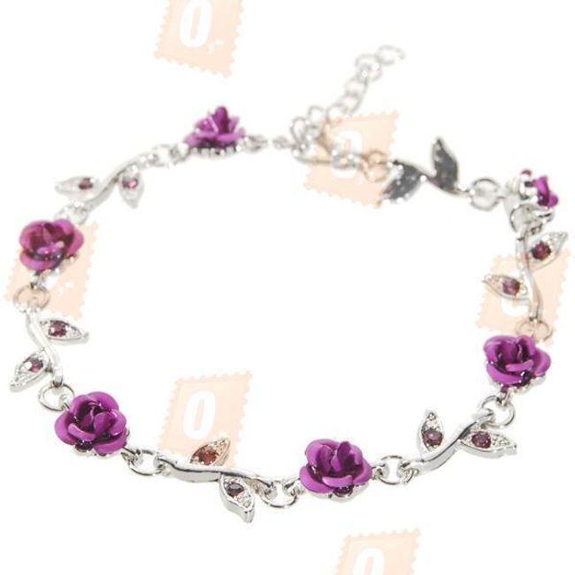 Náramek s ozdobnými fialovými květy růže (18,9cm) 1