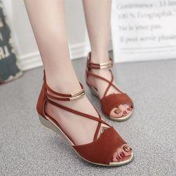 Dámské sandály s jemnými řemínky - Červená-6.5