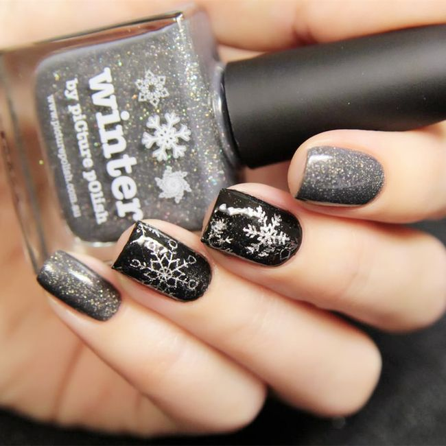 Nalepke za nohte z zimskim motivom - srebrne 1