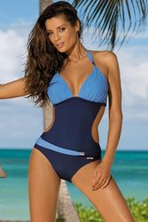 Jednodílné plavky v atraktivních barvách - Modrá-velikost č. 2