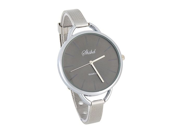 Damski metalowy zegarek z czarną tarczą 1