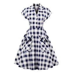 Клетчатое ретро-платье