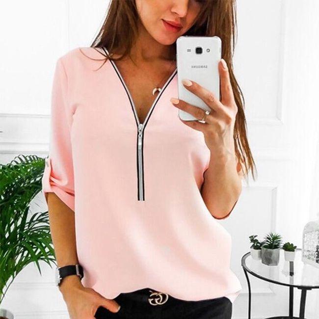 Stilska bluza sa rajsferšlusom na izrezu - 5 boja 1