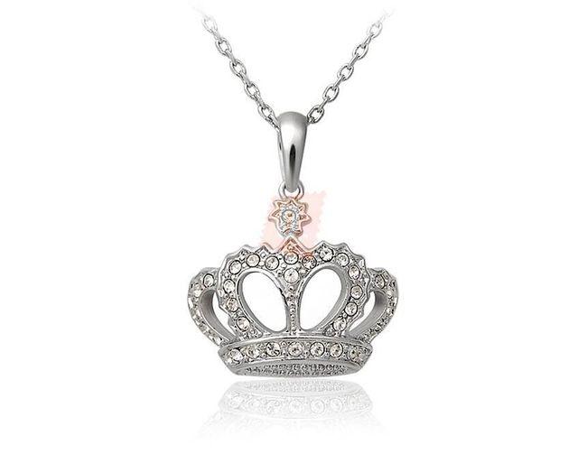 Náhrdelník s korunou zdobenou kamínky - stříbrná barva 1