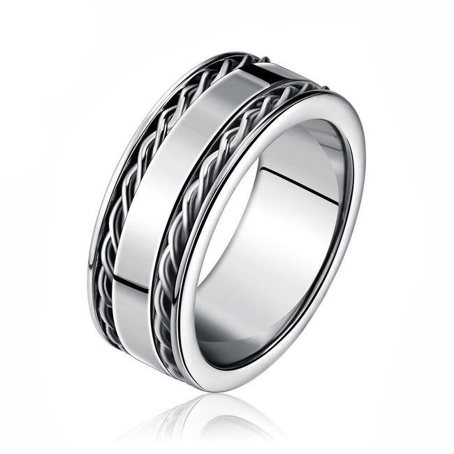 Pánský jednoduchý prsten - stříbrná barva 1