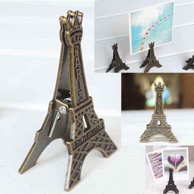 Retro stojánek na fotografii ve tvaru Eiffelovy věže - 5 kusů 1