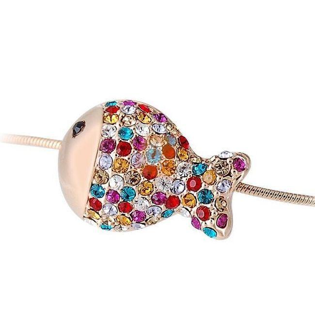 Náhrdelník s rybičkou zdobenou kamínky - zlatá barva 1