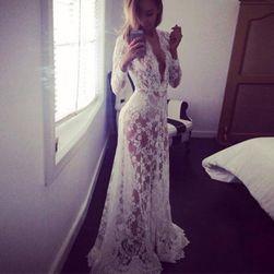 Rochie lungă transparentă cu dantelă - 2 culori