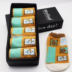 Kotníkové ponožky s různými motivy - 5 párů