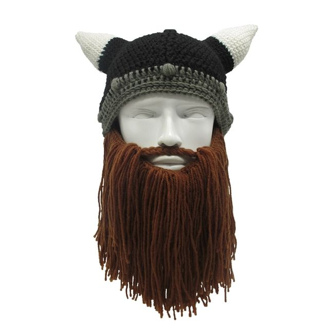 Kötött téli sapka Viking szakállal