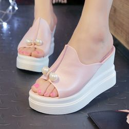 Dámské sandály s umělými perličkami - Bílá-37,5