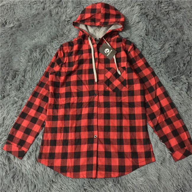 Kockás kapucnis pamut pulóver - több szín