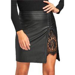 Kožená sukně s krajkou