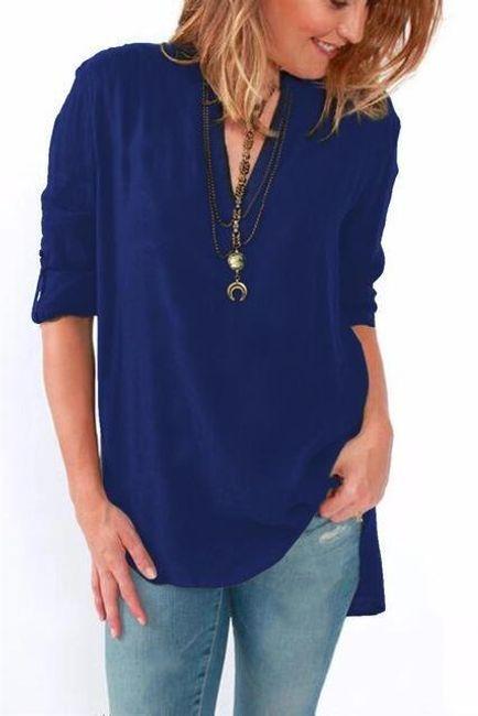 Pohodlné triko s ohnutými rukávy - Tmavě modrá - velikost č. 6 1