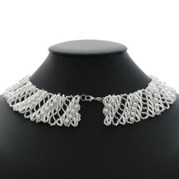 korálkový náhrdelník límeček bílý/modrý/fialový