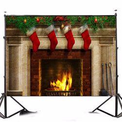 Ateliérové fotopozadí 2,1 x 1,5 m - Krb s vánočními punčochami